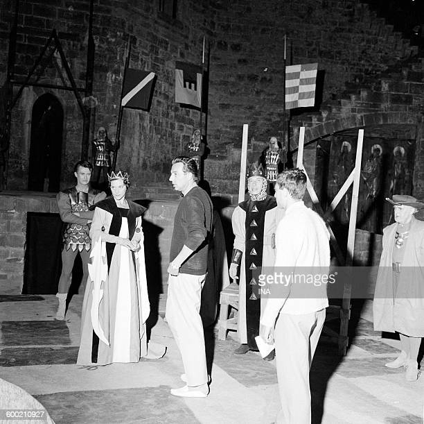 The director Claude Barma Maria Casarès and Daniel Sorano during the shooting of Hamlet complete recording of the Shakespeare's play from the Big...