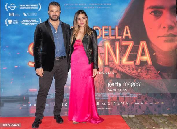 The director Eduardo De Angelis and the actress Pina Turco at the presentation of the drama 'Il vizio della speranza' directed by Edoardo De Angelis...