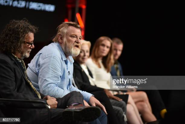 The director of ATT Audience Network's Mr Mercedes director / producer Jack Bender and the cast of Mr Mercedes actors Brendan Gleeson MaryLouise...