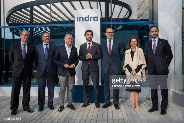 The director of Indra in Catalonia Manuel Brufau The CEO of Indra TD Ignacio Mataix the counsellor of Public Administration of the Generalitat Jordi...