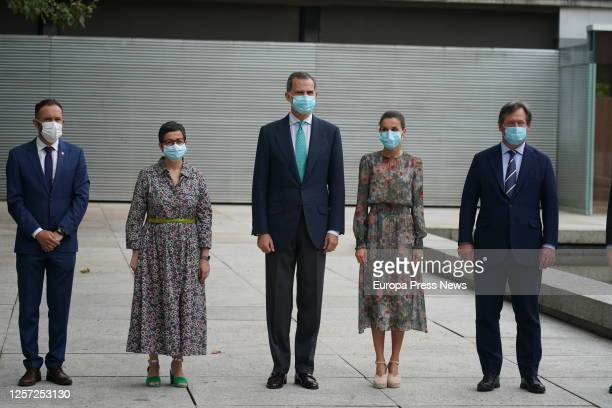 The Director of the Bilbao Fine Arts Museum Miguel Zugaza the Minister of Foreign Affairs Arancha González Laya King Don Felipe Queen Letizia and the...