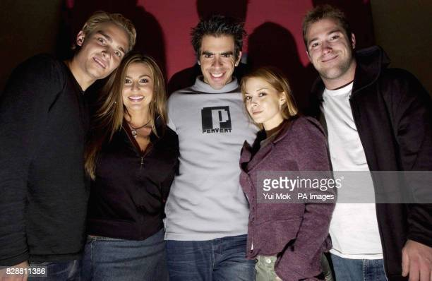 The director of the film Eli Roth with the stars from left to right Joey Kern Cerina Vincent Eli Jordan Ladd and James DeBello during a photocall to...