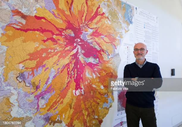The director of the Institute of Geophysics and Volcanology in Catania poses in front of a map of Etna on March 01, 2021 in Catania, Italy. Europe's...