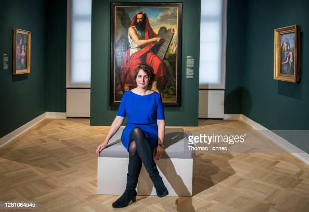 The director of the Jewish Museum Mirjam Wenzel pictured in front of the oil painting 'Moses with the Law Tablets' by Moritz Daniel Oppenheim as part...