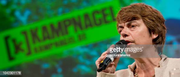 The director of the Kampnagel Theater Amelie Deuflhard speaks on the stage of the theater during a press conference in Hamburg Germany 10 September...