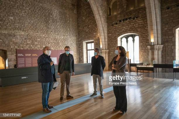 The director of the Museu d'Història de Barcelona the deputy mayor for Culture Joan Subirats and the mayor of Barcelona Ada Colau inside the museum...