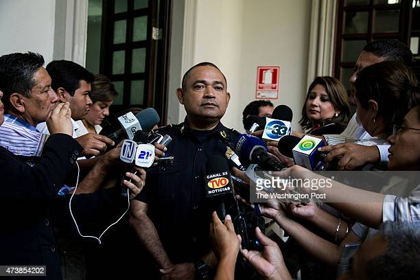 SALVADOR MAY 2015 The director of the national police of El Salvador Humberto Landaverde bring some declaration to the press about the last...