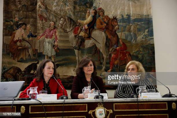 The director of the Political and Constitutional Studies Yolanda Gómez Sánchez the vicepresident of Spanish Government Carmen Calvo and ex deputy...