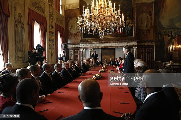 The Director of the Queen's Office Chris Breedveld reads out the Act of Abdication of Queen Beatrix of the Netherlands in the Moseszaal at the Royal...