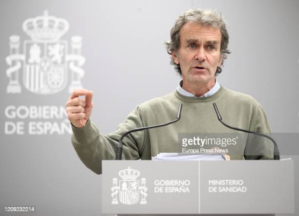 The director of the Sanitary Emergency and Alert Coordination Centre Fernando Simon is seen in a press conference after the meeting of the committee...