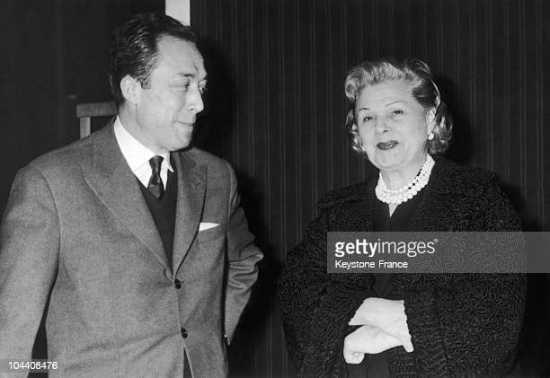 The director of the Theatre of Paris Elvire POPESCO and the writer Albert CAMUS posing at the press conference for the reprise of the play CALIGULA...