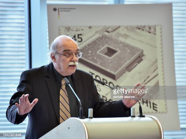 The director of the Topgraphy of Terror Foundation Andreas Nachama gives a talk during the presentation of a new stamp featuring an image of the...