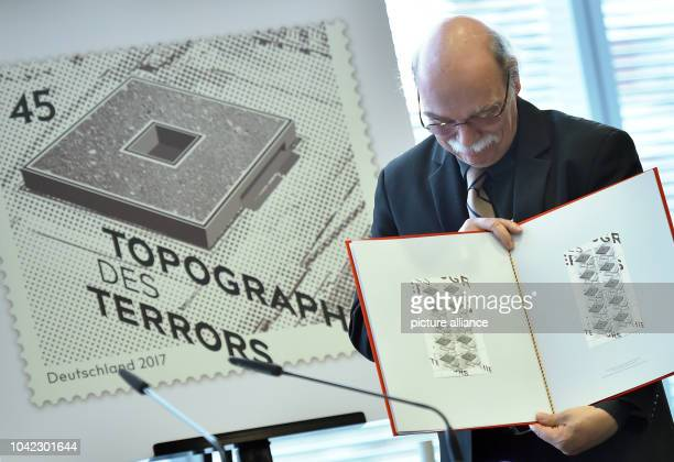 The director of the Topgraphy of Terror Foundation Andreas Nachama at the presentation of a new stamp featuring an image of the history museum in...