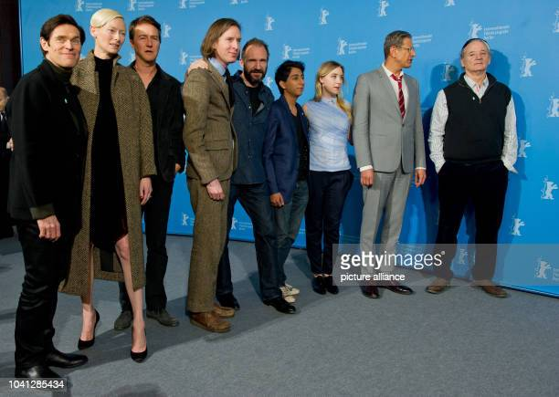 The director Wes Anderson and the actors Willem Dafoe Tilda Swinton Edward Norton Ralph Fiennes Tony Revolori Saoirse Ronan Jeff Goldblum und Bill...