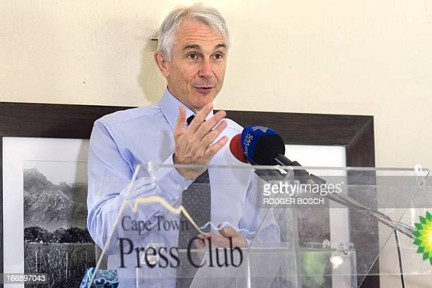 The directorgeneral and chief exectutive officer of the International Air Transport Association Tony Tyler speaks on 18 April 2013 at a lunch...