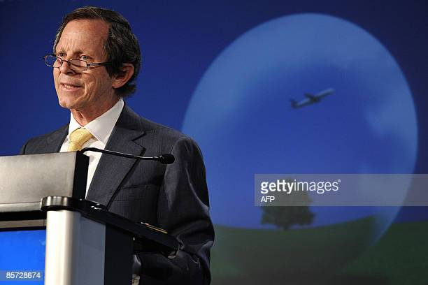 The directorgeneral of the International Air Transport Association Giovanni Bisignani of Italy delivers a speech on March 31 2009 during the opening...