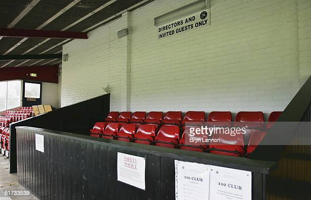 The director's box is seen at Histon's ground The Bridge prior to the FA Cup match between Histon FC and Shrewsbury Town on November 12 2004 in...