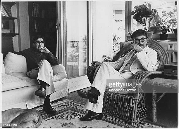 The directors Paolo and Vittorio Taviani seated in the livingroom of Paolo's house Rome 1982