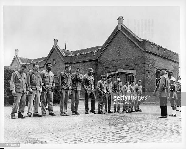 The Dirty Dozen line up for the first time - John Cassavetes, Tom Busby, Jim Brown, Don Sutherland, Ben Carruthers, Clint Walker, Charles Bronson,...