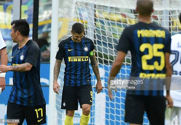 The disappointment of Mauro Icardi after having missed the penaltyduring the Serie A match between FC Internazionale and Cagliari Calcio at Stadio...