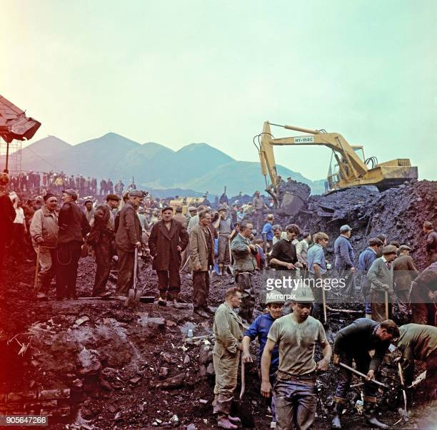The Disaster scene at Aberfan South Wales At 915 am on Friday 21 October 1966 after days of rain a mining waste tip slid down a mountainside into the...
