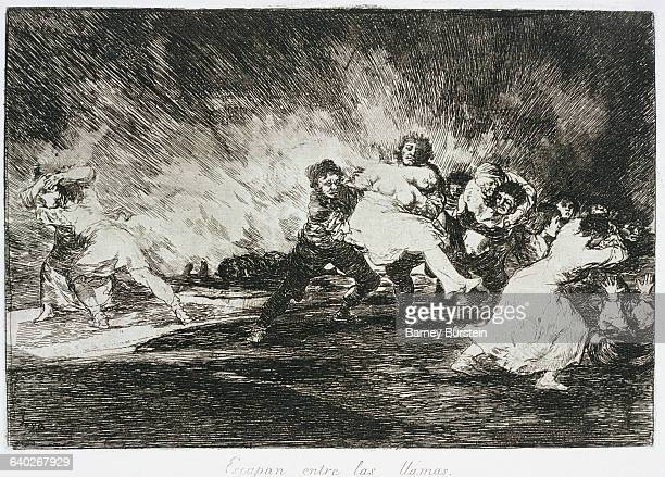 They escape through the flames by Francisco Goya
