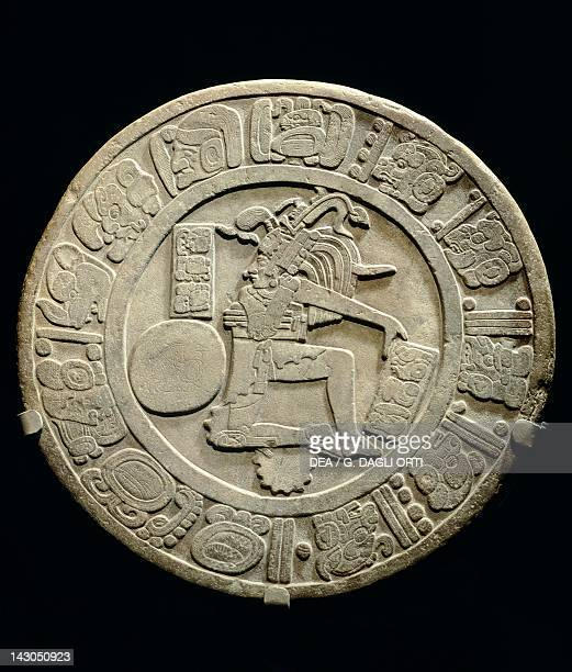 The disc of Chinkultic showing a center with a depiction of a player of pelota Artifact dated 590 originated from Chinkultic Mayan Civilization 6th...