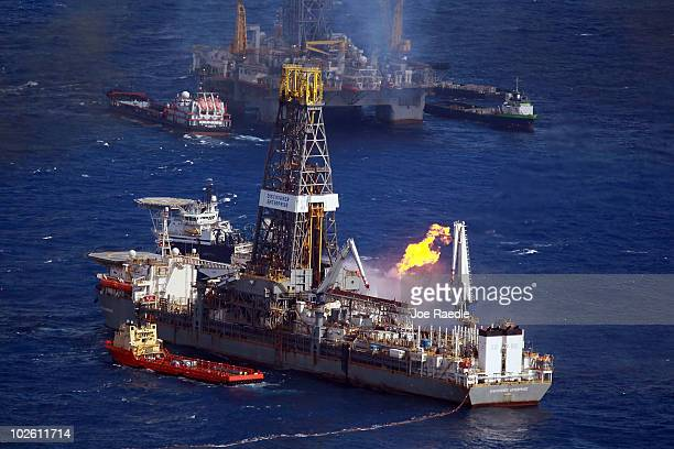 The Discoverer Enterprise drilling rig is seen as it continues the effort to recover oil from the Deepwater Horizon spill site on July 3 2010 in the...