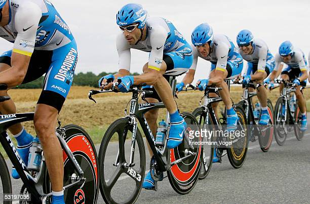 The Discovery Channel team rides to victory during the Stage 4 team time trial in the 92nd Tour de France between Tours and Blois July 5, 2005 in...