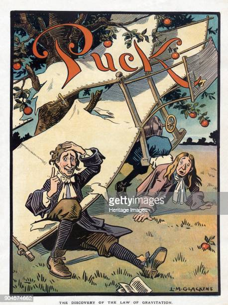 The Discovery of the Law of Gravitation pub 1910 Depicting The Wright brothers and Sir Isaac Newton