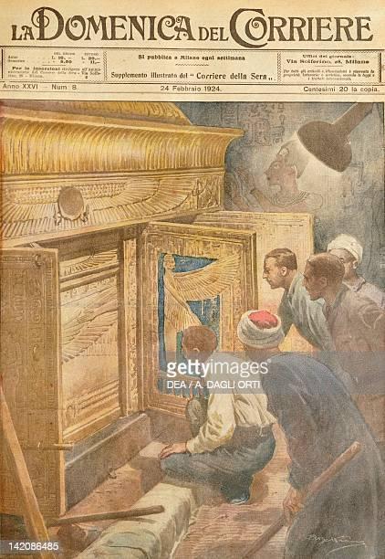 The discovery of Tutankhamen's tomb Illustrator Achille Beltrame from La Domenica del Corriere 24th February 1924