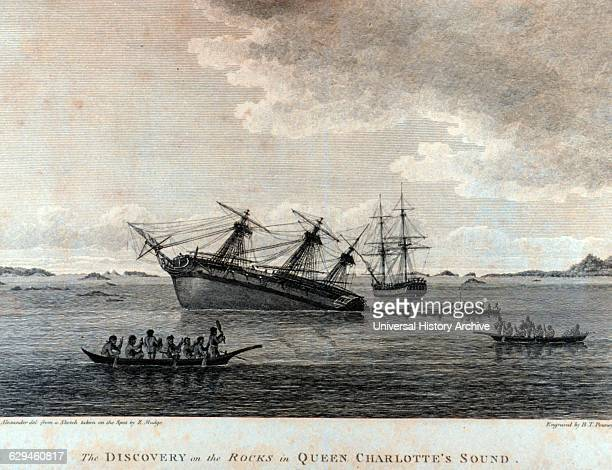 The Discovery on the rocks in Queen Charlotte's Sound Latitude 51 02 N Longitude 127 35 W In 'A Voyage of Discovery to the North Pacific Ocean and...
