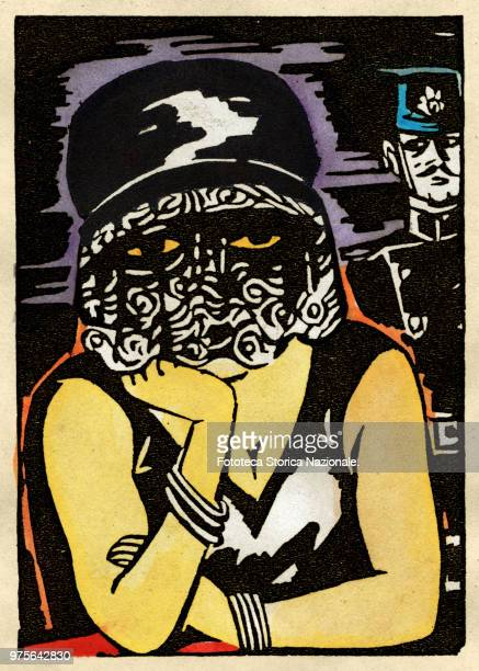 The disease lurking under the mysterious and seductive veil of the cocotte Handcolored woodcut by Frans Masereel France 1926
