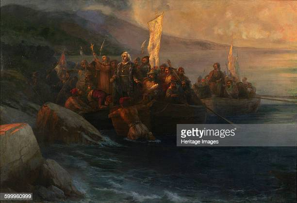 The Disembarkation of Christopher Columbus on San Salvador 12th October 1492 1892 Private Collection Artist Aivazovsky Ivan Konstantinovich