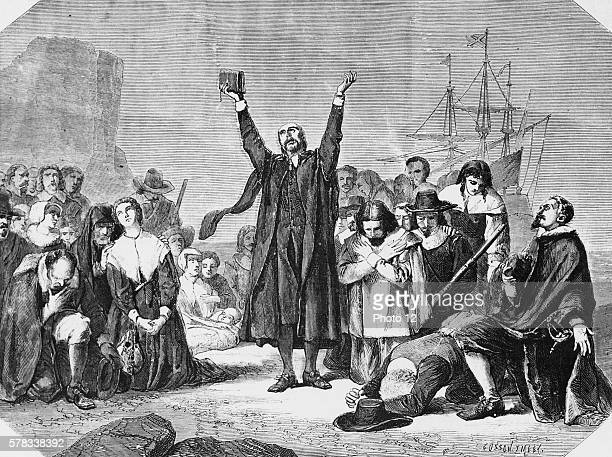 The disembarkment of the Puritan settlers in North America the Pilgrim Fathers landing off the Mayflower 1864 Wood engraving Cosson Smeeton after the...