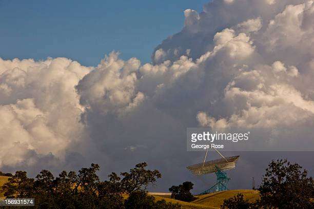 The Dish a radio telescope located in the hills above Stanford University is viewed from Interstate 280 on October 24 in Palo Alto California Some...
