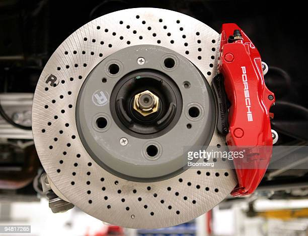 The disk brake of a Porsche 911 Coupe sportscar seen on the production line at the Porsche factory in Stuttgart Zuffenhausen, Germany, Monday, April...