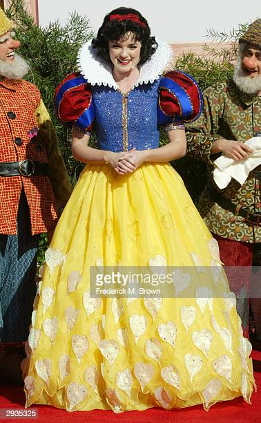 The Disney character Snow White from the fabled children's story and movie Snow White and the Seven Dwarfs attends a handprint ceremony at Grauman's...