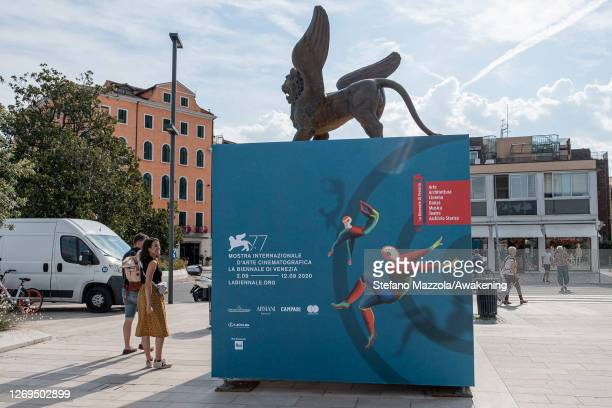 The display announcing the 77th Venice Film Festival which starts on 02 September and ends on 12 September on August 29, 2020 in Venice, Italy.