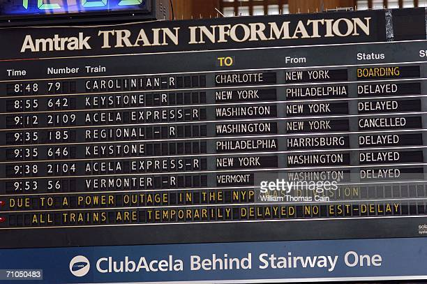 The display shows which trains are delayed at 30th Street Station May 25 2006 in Philadelphia Pennsylvania Thousands of Amtrak passengers were...