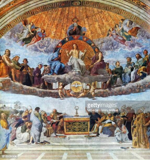 The Disputation of the Sacrament or Disputa painting by the Italian Renaissance artist Raphael It was painted between 1509 and 1510 to decorate with...
