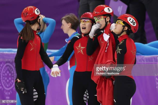 The disqualified China team look on following the Ladies Short Track Speed Skating 3000m Relay Final A on day eleven of the PyeongChang 2018 Winter...
