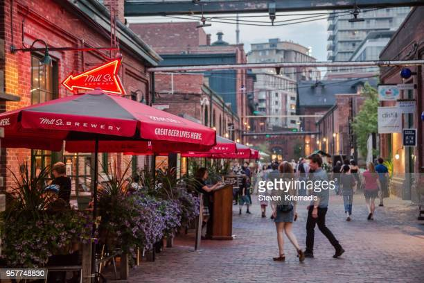 the distillery district - toronto, ontario - county stock pictures, royalty-free photos & images