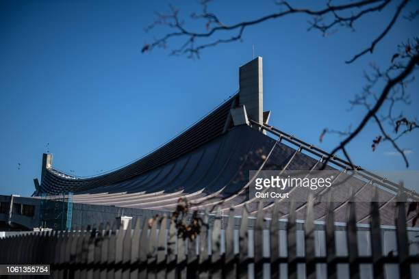 The distinctive curved roof of Yoyogi National Stadium is pictured on November 14 2018 in Tokyo Japan The 13291 seat stadium is set to host handball...