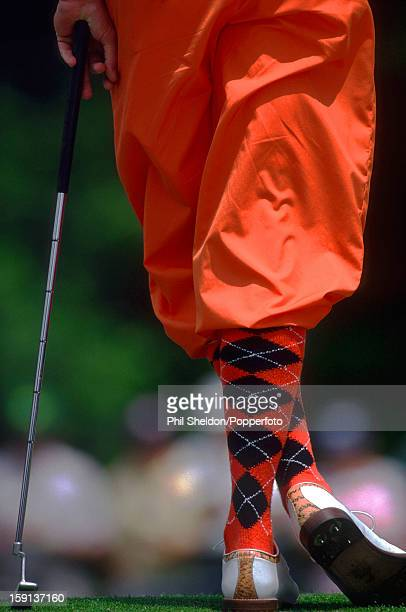 The distinctive fashion style of American golfer Payne Stewart on show at the US Masters golf tournament at the Augusta National Golf Club in Georgia...