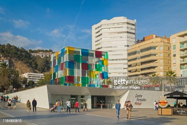 The distinctive glass cube of the Pompidou Centre museum on Muelle Uno, Malaga The structure was designed by French artist Daniel Buren 1938 -...