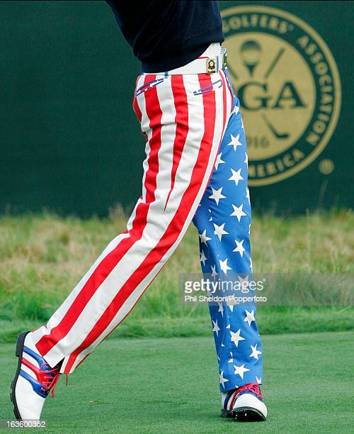 The distinctive trousers worn by Ian Poulter of Great Britain during the US PGA Championship held at the Whistling Straits Golf Club in Haven...