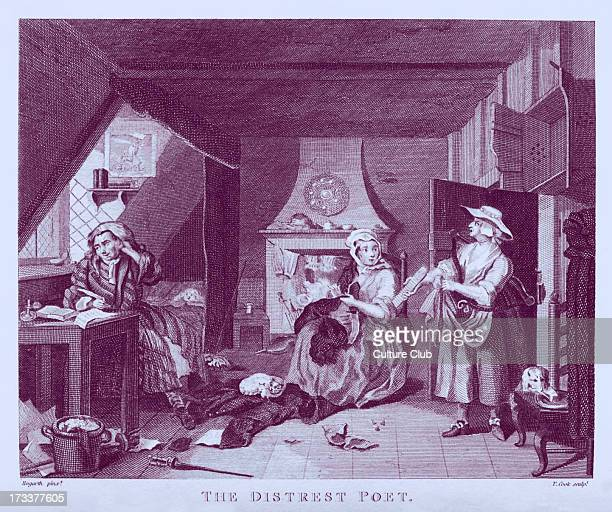 The Distrest Poet by William Hogarth 1736 The picture above the poet is of Alexander Pope Below the poet is composing 'Poverty a Poem' At the bottom...
