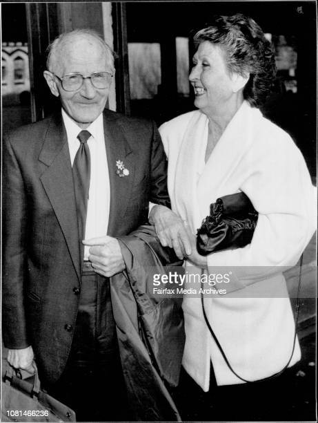 The district courts, Darlinghurst ....Dr Paul Robert Neuman and wife Lady Gertraud stop briefly on their way from the courts for a photograph...