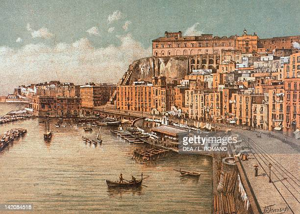 The district of Saint Lucia in Naples lithograph from Ancient Naples by Raffaela D'Ambra subject of Matteo Zampella and Francesco Aversano Italy 19th...
